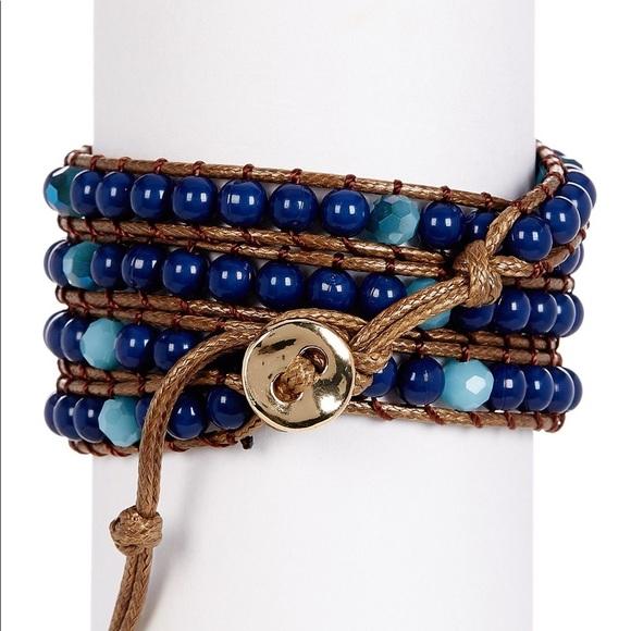 Alexia Crawford Accessories - ALEXIA CRAWFORD Blue Beaded Wra Bracelet